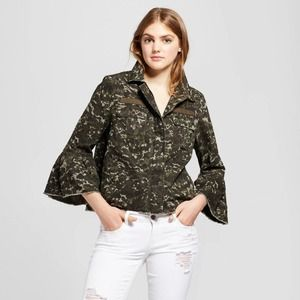 Mossimo Camo Jacket Utility Army Camouflage Ruffle